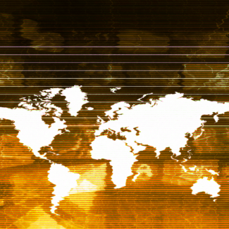 a distorted map of the world with yellow filter.