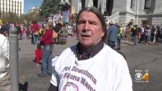 Professor Glenn Morris at Columbus Day Protest in October 2019 on CBS Channel 4 Denver