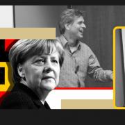 Graphic showing Angela Merkel, (Prime minister of Germany), and Professors Christoph Stefes and Thorsten Spehn