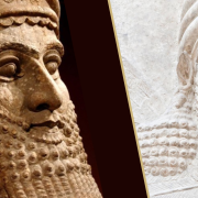 Two juxtaposed images of the face of the state of Gilgamesh with a gold line running diagonally through the center.