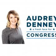 "Audrey Denney headshot with campaign logo reading ""Audrey Denney for Congress"""