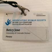 Advocating for Human Rights Betcy Jose name tag from the Alliance for Multilateralism