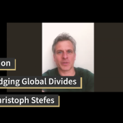 Dr. Christoph Stefes in video still from Update on the Berlin Bridging Global Divides Video