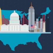 United states map on blue background with the Capitol Builgin, flag, Lincoln Memorial and other US monuments depicted in vector image cartoon style.