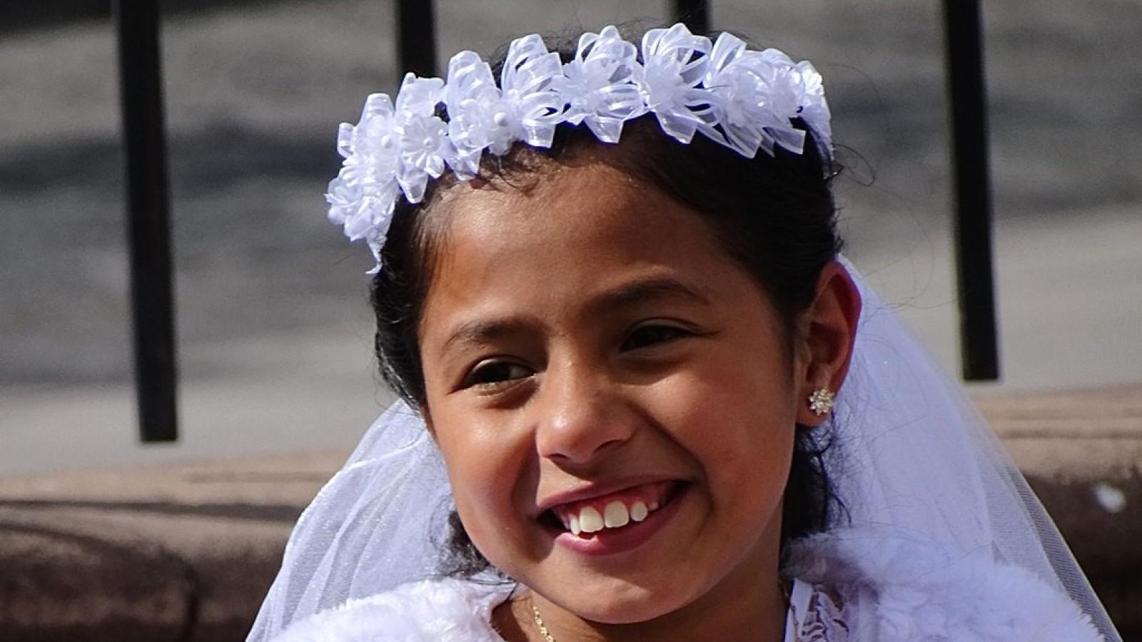 Girl in Communion Dress
