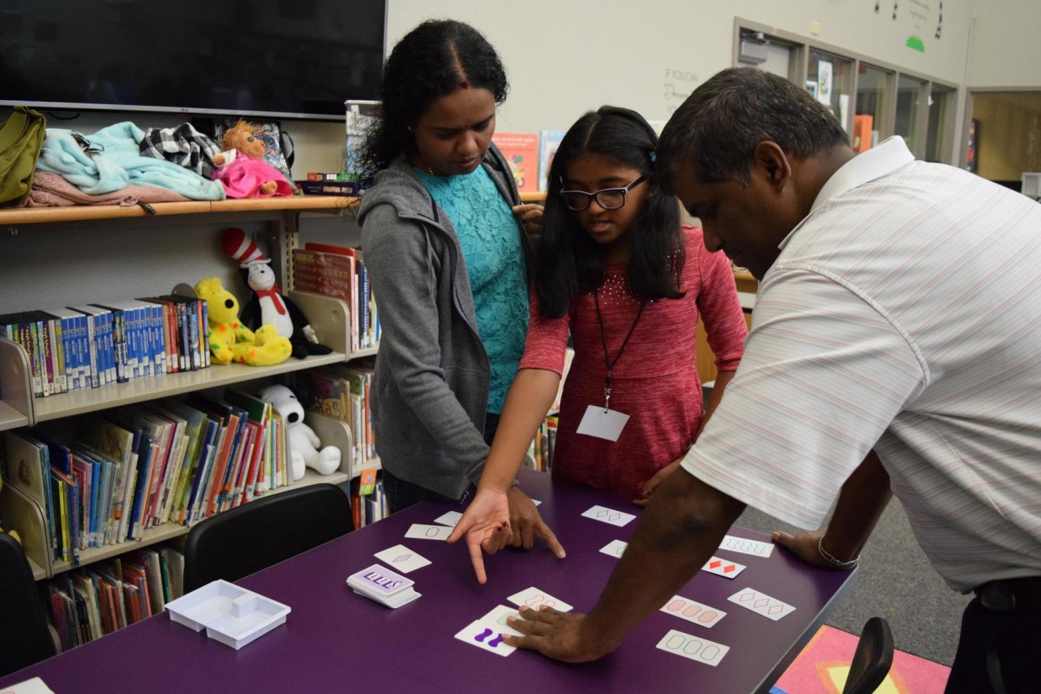Students and families get involved in hands-on math activities!