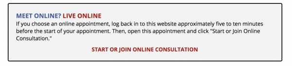"""Text reads, """"Start or Join Online Consultation"""""""