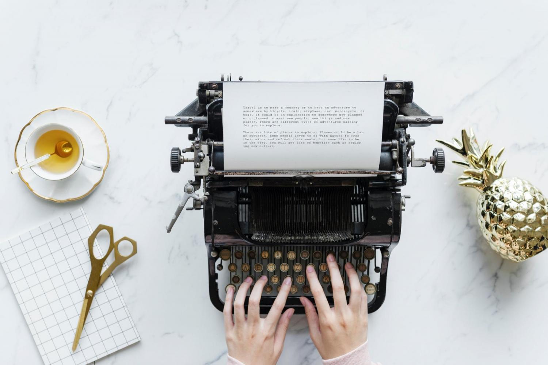 typewriter beverage writing