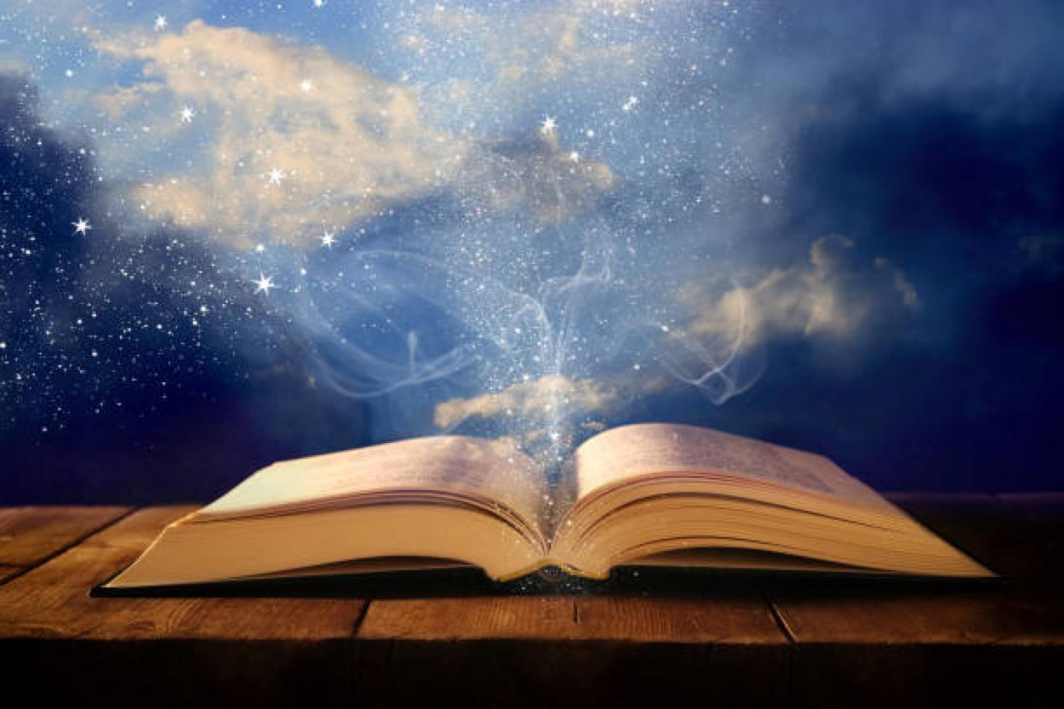 Image of book with sparkles